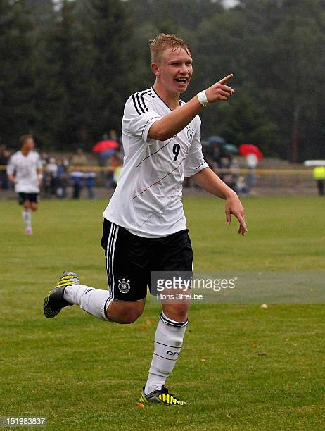 Phillipp Ochs of Germany celebrates his team's second goal during the U16 International Friendly match between Germany and Ukraine on September 14...