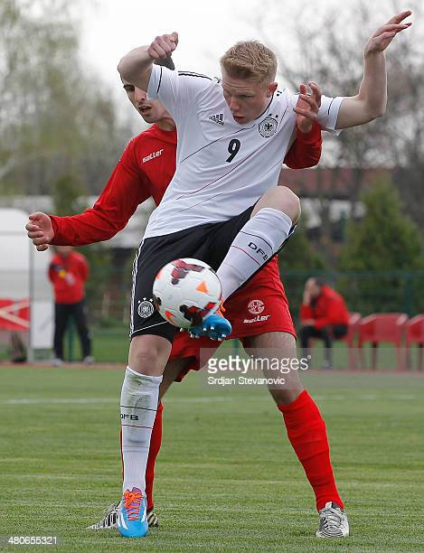 Phillipp Ochs of Germany in action against during the UEFA Under17 Elite Round between Georgia and Germany at Stadion Stara Pazova on March 26 2014...