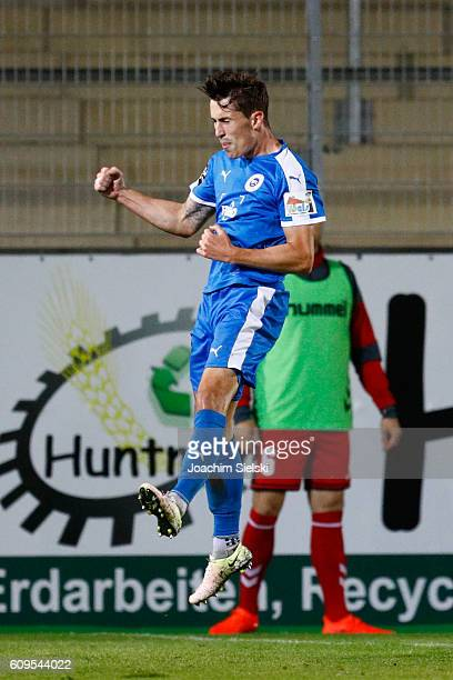 Phillipp Steinhart of Lotte celebrates his goal 21 for Lotte during the third league match between Sportfreunde Lotte and SG Sonnenhof Grossaspach at...