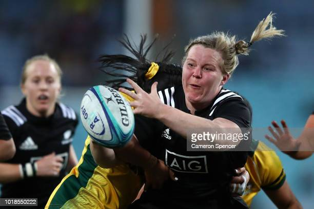 Phillippa Love of the Black Ferns is tackled during the Women's Rugby International match between the Australian Wallaroos and New Zealand Black...