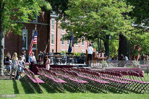 phillips exeter academy college preparatory boarding school graduation - graduation crowd stock pictures, royalty-free photos & images