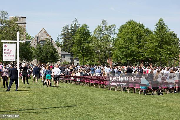 phillips exeter academy graduation 2015, college prep boarding school - graduation crowd stock pictures, royalty-free photos & images