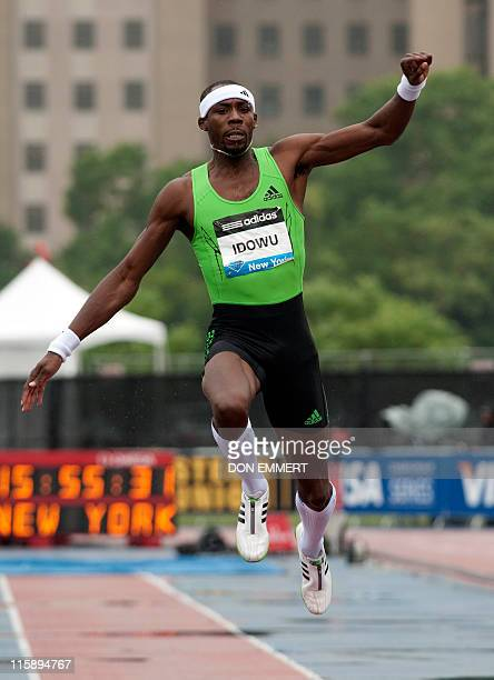 Phillips Idowu of Great Britain competes in the men's triple jump at the Adidas Grand Prix on Randall's Island June 11 2011 in New York Idowu won the...