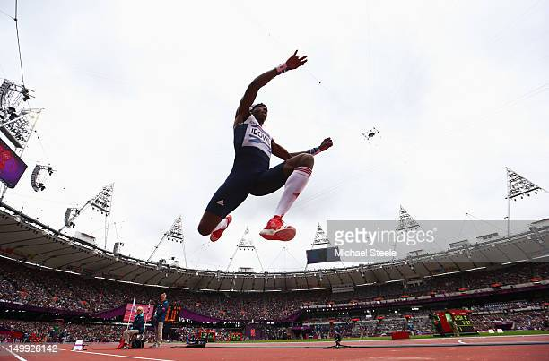 Phillips Idowu of Great Britain competes in the Men's Triple Jump Qualification on Day 11 of the London 2012 Olympic Games at Olympic Stadium on...