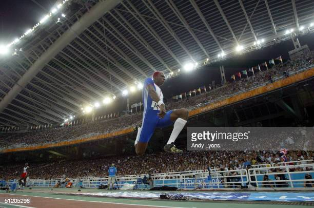 Phillips Idowu of Great Britain competes in the men's triple jump final on August 22 2004 during the Athens 2004 Summer Olympic Games at the Olympic...