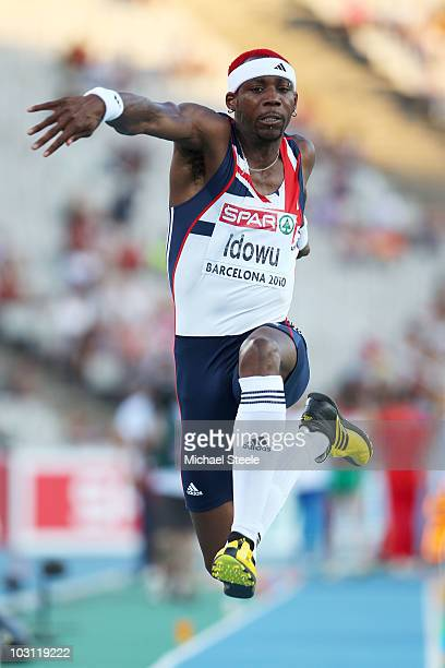 Phillips Idowu of Great Britain competes in the Mens Triple Jump Qualifying during day one of the 20th European Athletics Championships at the...