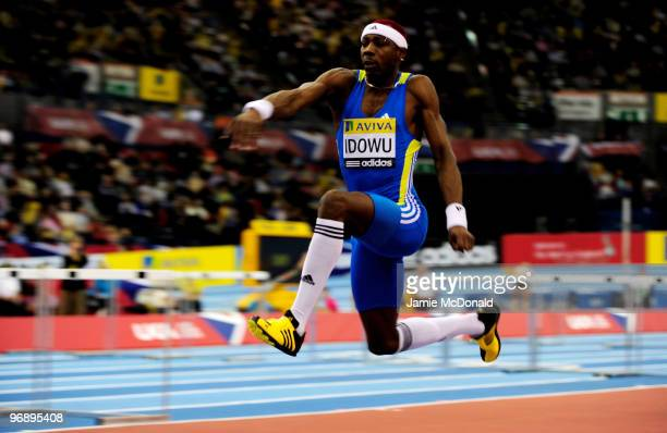 Phillips Idowu of Great Britain competes in the Men's Triple Jump during the Aviva Grand Prix at the National Indoor Arena on February 20 2010 in...
