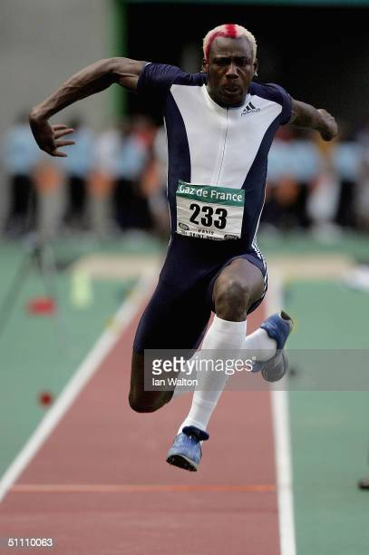 Phillips Idowu of Great Britain in action in the mens Triple Jump at the IAAF Golden League meet at the Stade de France on July 23 2004 in Paris...