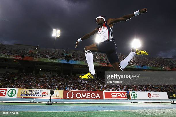 Phillips Idowu of Great Britain on his way to winning the gold medal in the Mens Triple Jump Final during day three of the 20th European Athletics...