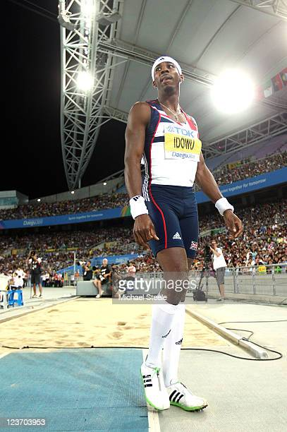 Phillips Idowu of Great Britain reacts during the men's triple jump final during day nine of 13th IAAF World Athletics Championships at Daegu Stadium...