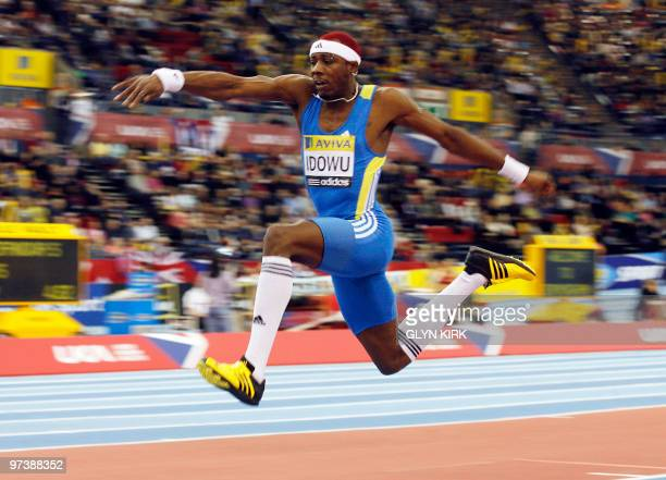 Phillips Odowu of Great Britain competes in the Men's Triple Jump during the Aviva 2010 athletics Grand Prix at the National Indoor Arena in...