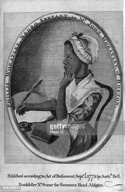 Phillis Wheatley from frontispiece of her Poems on Various Subjects Enslaved aged sevn purchased by Wheatley family of Boston Mass who educated and...