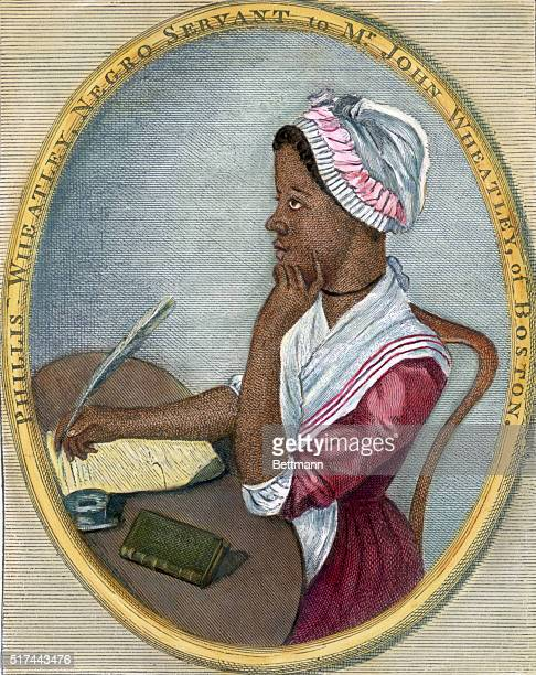 Phillis Wheatley Portrait of American poet seated at a desk writing with a quill pen Undated handtinted color engraving with an original caption...