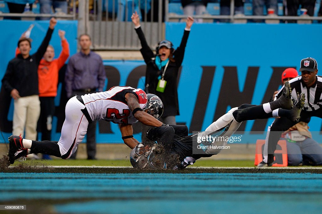 Philly Brown #16 of the Carolina Panthers makes his first NFL receiving touchdown against the Atlanta Falcons in the 4th quarter during their game at Bank of America Stadium on November 16, 2014 in Charlotte, North Carolina.
