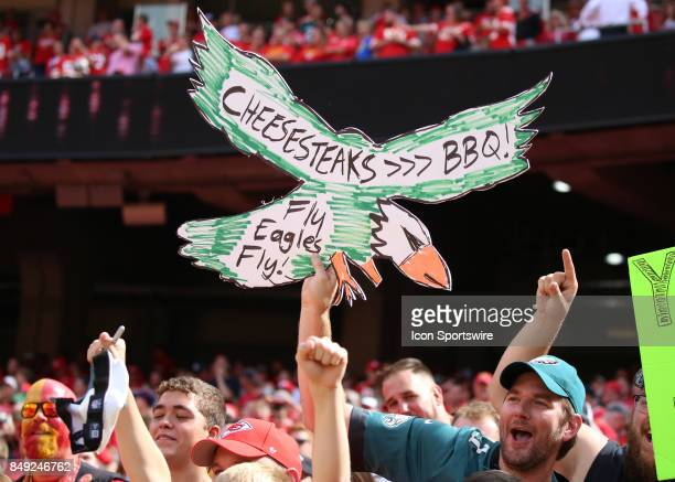 Philly fans hold a sign up in the fourth quarter of a week 2 NFL game between the Philadelphia Eagles and Kansas City Chiefs on September 17th 2017...
