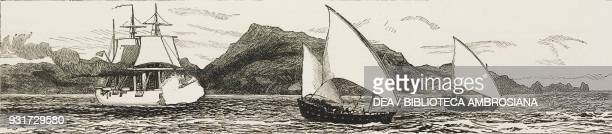 HMS Philomel chasing slave boats in the straits of BabelMandeb between Yemen and Djibouti illustration from the magazine The Graphic volume XXV no...