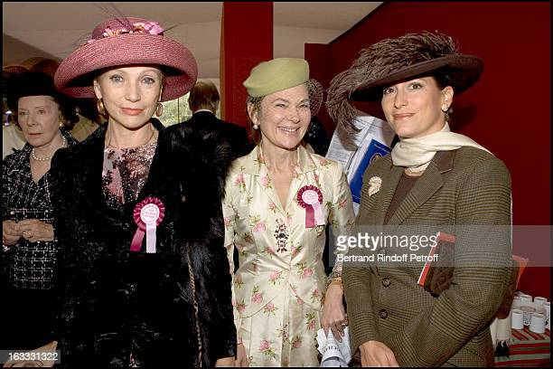 Philomene D' Arenberg La Comtesse Pilar De La Beraudiere and La Princesse Zahra Aga Khan at The 84th Prix De L' Arc De Triomphe In 2005 At The L'...
