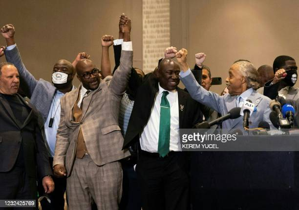 Philonise Floyd , Attorney Ben Crump and Reverend Al Sharpton react following the verdict in the trial of former police officer Derek Chauvin in...