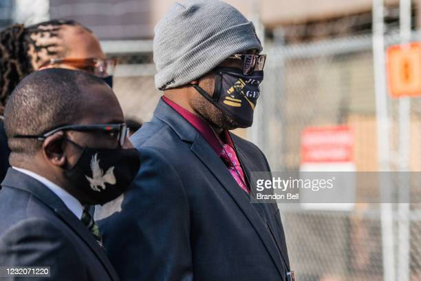 Philonise Floyd, brother of George Floyd, arrives at a checkpoint at the Hennepin County Government Center on April 2, 2021 in Minneapolis,...