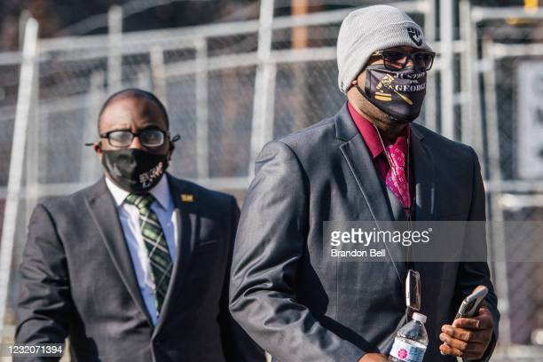 Philonise Floyd , brother of George Floyd, arrives at a checkpoint at the Hennepin County Government Center on April 2, 2021 in Minneapolis,...