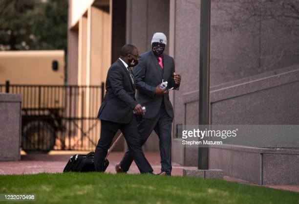 Philonise Floyd , brother of George Floyd, arrives outside the Hennepin County Government Center on April 2, 2021 in Minneapolis, Minnesota. The...