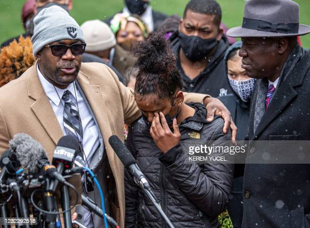 Philonise Floyd , brother of George Floyd, Chyna Whitaker , Daunte Wright's girlfriend, and Floyd family lawyer, Ben Crump , attend a press...