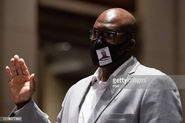 Philonise Floyd brother of George Floyd is sworn in during the opening statements at a House Judiciary Committee hearing on Policing Practices and...