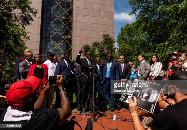 Philonise Floyd , brother of George Floyd, speaks during a press conference outside the Hennepin County Government Center after the sentencing of...