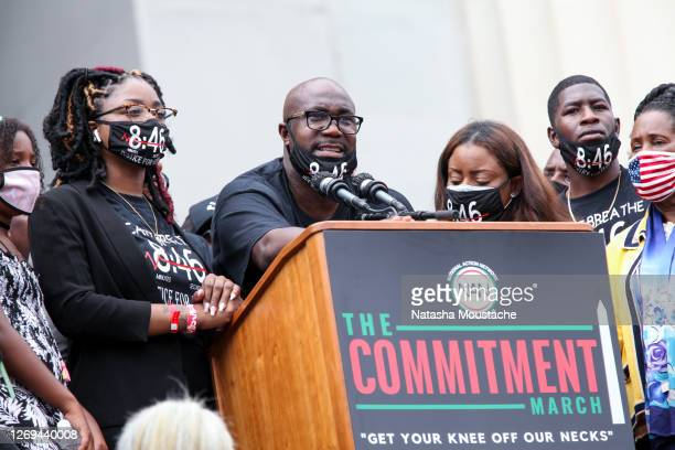 Philonise Floyd, brother of George Floyd, speaks during the Commitment March at the Lincoln Memorial on August 28, 2020 in Washington, DC. Rev. Al...