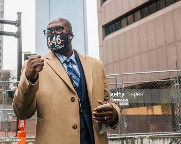 Philonise Floyd, brother of George Floyd, walks towards a security entrance at the Hennepin County Government Center on April 9, 2021 in Minneapolis,...