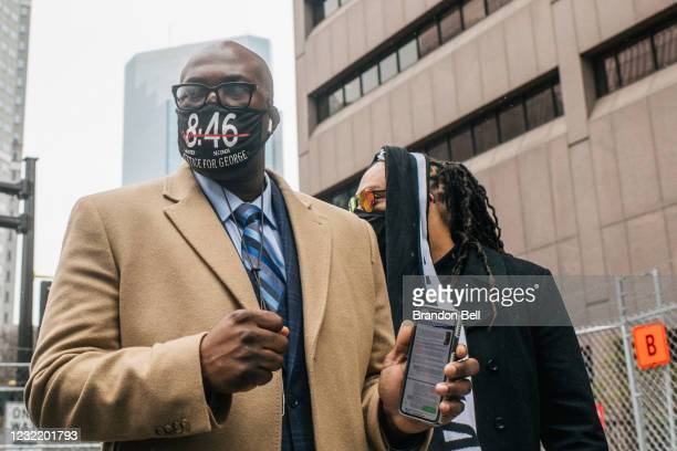 Philonise Floyd , brother of George Floyd, walks towards a security entrance at the Hennepin County Government Center on April 9, 2021 in...