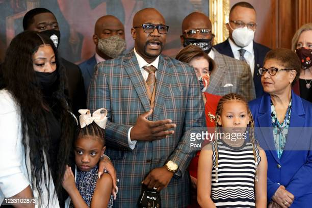 Philonise Floyd makes a statement with Speaker Nancy Pelosi during a photo-op with members of George Floyd's family prior to a meeting to mark the...