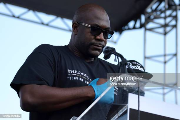 """Philonise Floyd, the brother of George Floyd, delivers remarks during the """"March On for Washington and Voting Rights"""" on the National Mall on August..."""