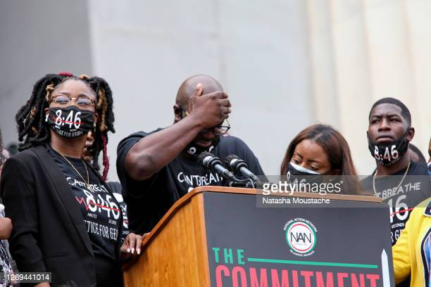 Philonise Floyd, the brother of George Floyd, who was killed in police custody in Minneapolis, reacts as he speaks at the Lincoln Memorial during the...