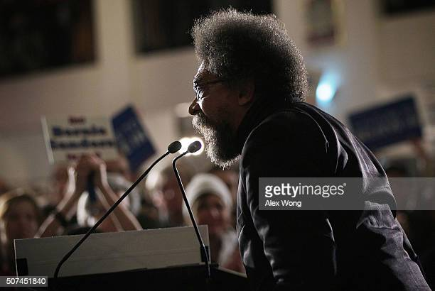 Philosopher and social activist Cornel West campaigns for Democratic presidential candidate Sen Bernie Sanders during a campaign rally at Danceland...