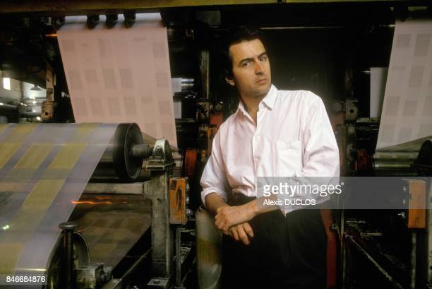 Philosopher Bernard Henri Levy at rotary press during the printing of magazine La Regle Du Jeu on May 9 1990 in France