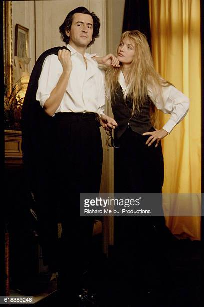 Philosopher Bernard-Henri Levy and Actress Arielle Dombasle at Home in Paris
