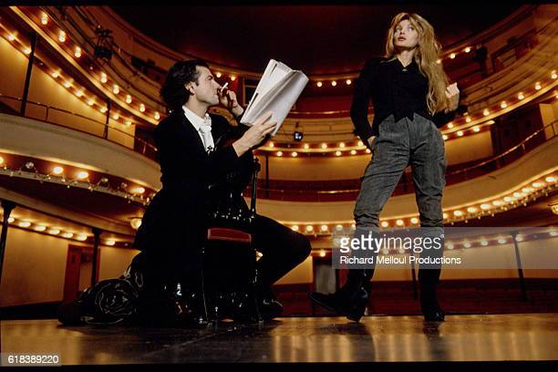 Philosopher BernardHenri Levy and Actress Arielle Dombasle in Theater