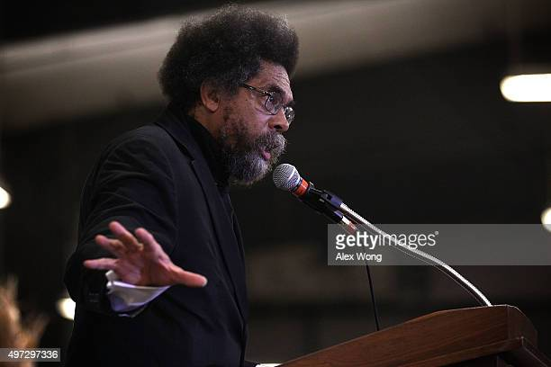 Philosopher Cornel West campaigns for Democratic presidential candidate Sen Bernie Sanders during the Central Iowa Democrats fall barbecue November...