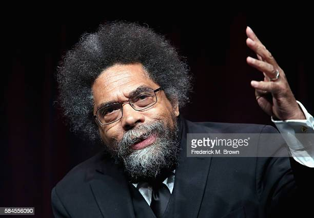 Philosopher Dr Cornel West speaks onstage during the 'Black America Since MLK And Still I Rise' panel discussion at the PBS portion of the 2016...