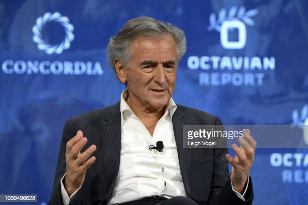 Philosopher Filmmaker and Activist BernardHenri Levy speaks onstage during the 2018 Concordia Annual Summit Day 1 at Grand Hyatt New York on...