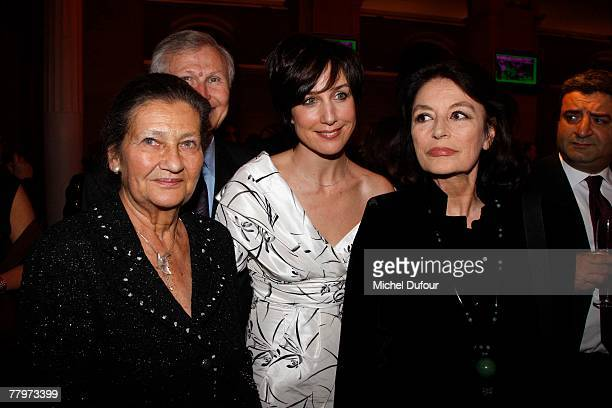 Philosopher Simone Weil actress actress Elsa Zylberstein and actress Anouk Aimee attend the Scopus Award dinner given by the Jewish University of...