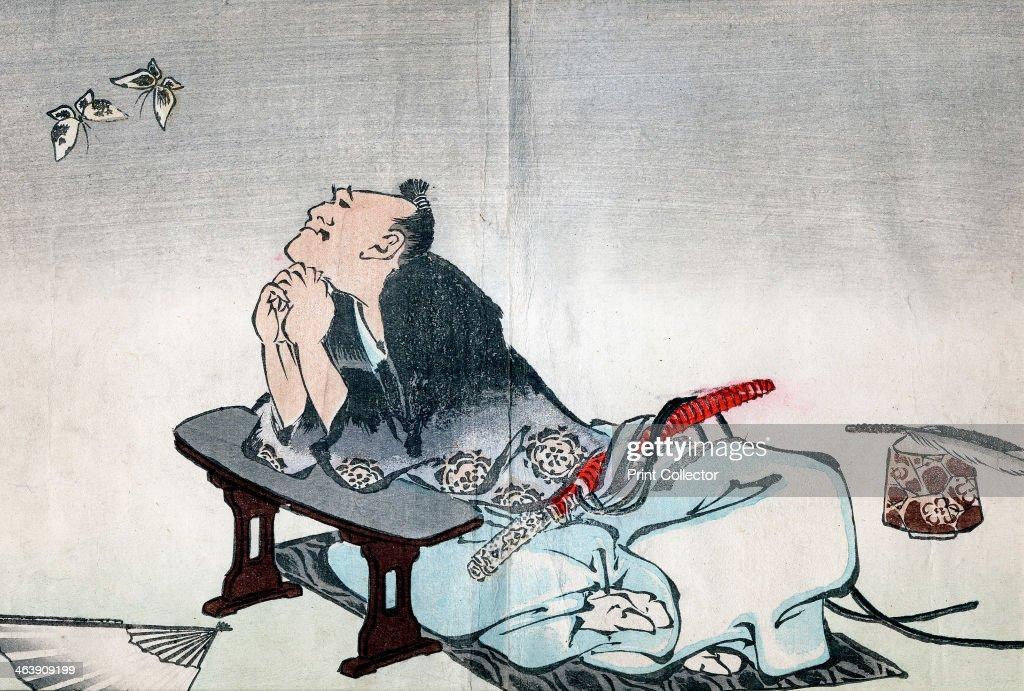A philosopher watching a pair of butterflies, 1814-1819. Artist: Hokusai : News Photo