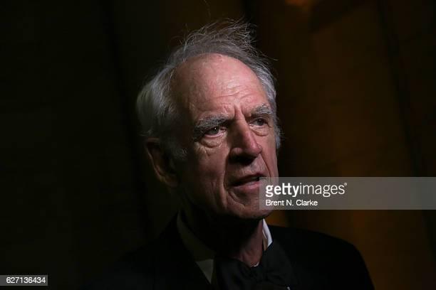 Philosopher/professor emeritus McGill University and event honoree Charles Taylor speaks to the media during The Berggruen Institute's 2016 Berggruen...
