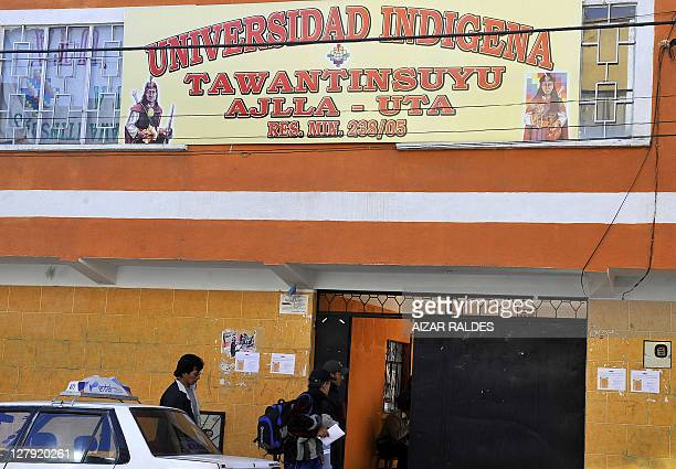 Philosophy and theology university students enter the Tawantinsuyo Indigenous University on July 10 in El Alto 12 km from La Paz AFP PHOTO/AIZAR...