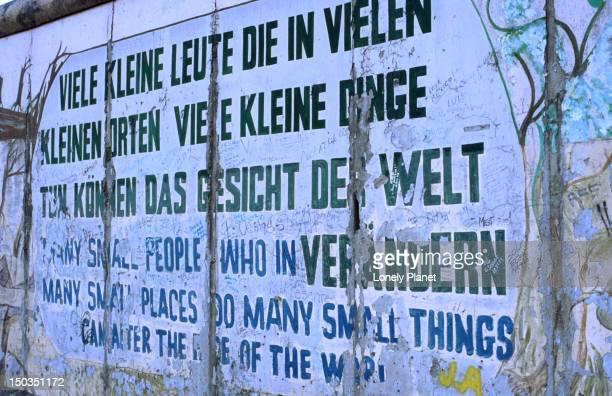 Philospohical graffiti on East Side Gallery of former Berlin Wall, Friedrichshain.