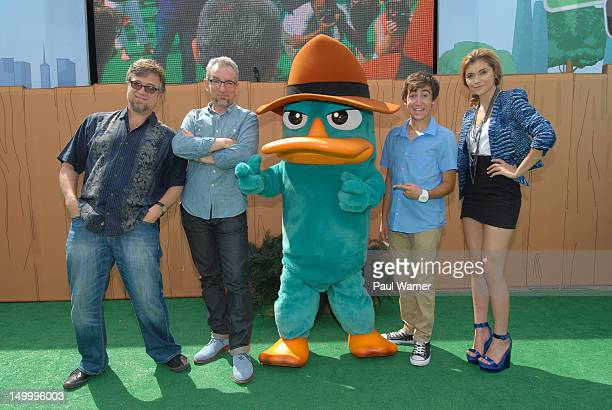 Phineas and Ferb creators Dan Povenmire and Jeff 'Swampy' Marsh pose with Perry the PlatyPus and voice actors Alyson Stoner and Vincent Martella at...