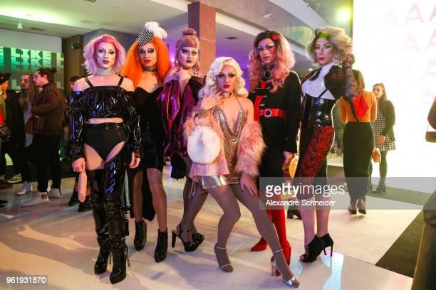 Phionna Lamona Divine Bona Petit Aya Kami Kitty Kawabuko and Agatha Le Blanc at MTV MIAW 2018 at Citibank Hall on May 23 2018 in Sao Paulo Brazil
