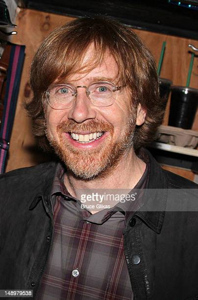 Phish frontman Trey Anastasio poses backstage at the hit musical 'Bring It On' on Broadway at The StJames Theater on July 20 2012 in New York City
