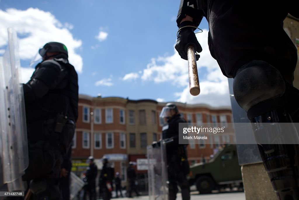 National Guard Activated to Calm Tensions In Baltimore In Wake Of Riots After Death of Freddie Gray : News Photo